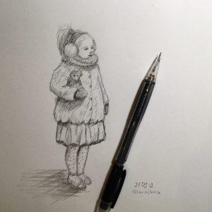 набросок девочки карандашом