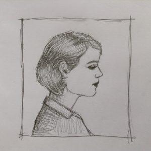 набросок девушка в профиль карандашом