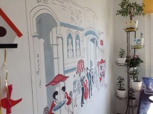 уличное кафе - рисунок на стене