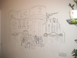 рисунок на стене - уличное кафе