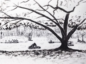 скетч в парке под деревом