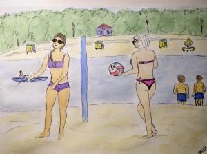 скетч пляж