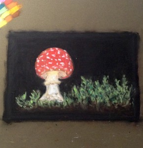 рисунок пастелью на наждачной бумаге