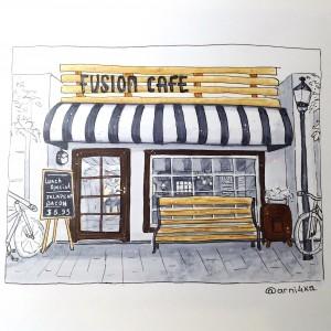 фасад кафе маркерами