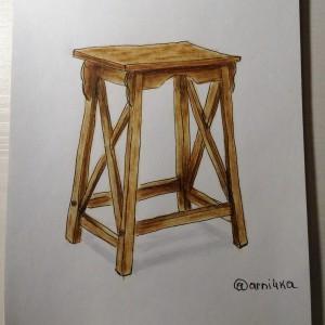 деревянный стул маркерами