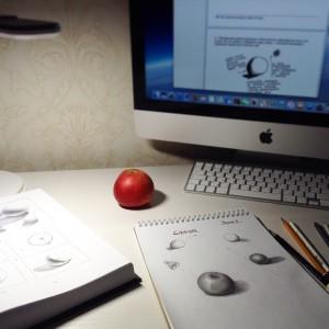 рисунок яблока с натуры