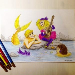 девушка и русалки карандашами