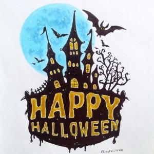 открытка к хэллоуину маркерами