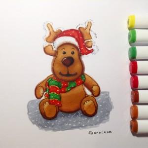 новогодний рисунок маркерами