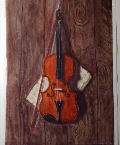 скрипка акварелью
