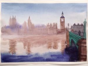 Туманный Лондон в технике по-сырому