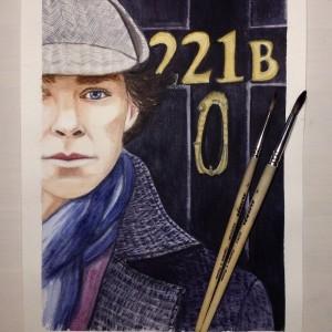 Шерлок у двери акварелью
