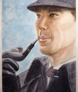 Шерлок с трубкой акварелью