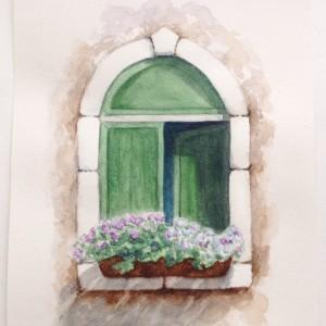 Окно в старом городе акварелью