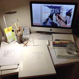 процесс рисование акварелью