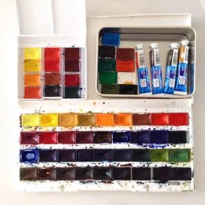 мои акварельные краски Невская палитра