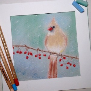 птица пастелью