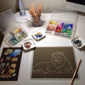 Лев пастелью, процесс рисования