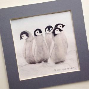 пингвины акварелью