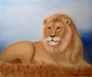 лев пастелью