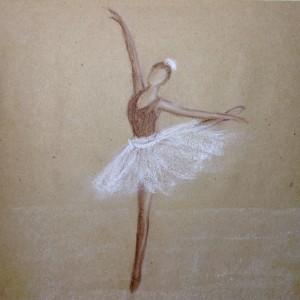 балерина пастелью крафт