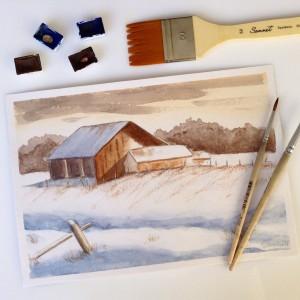 Зимний пейзаж с домом акварелью