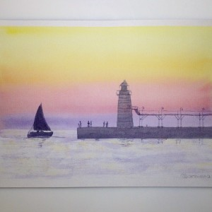 Морской пейзаж на закате акварелью