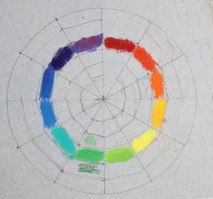рисование цветового круга пастелью