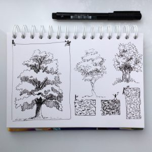 скетчи деревьев линером