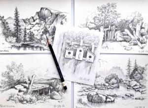 пейзажи карандашом